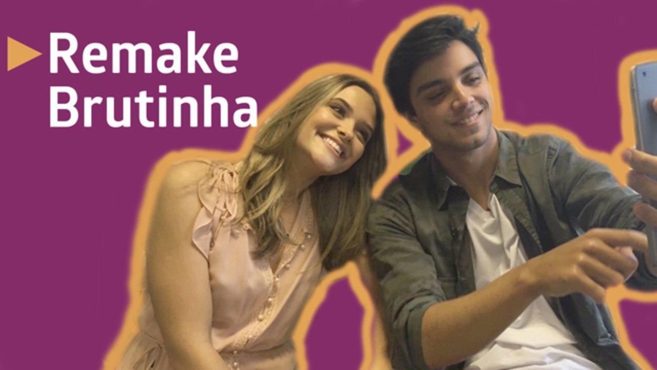 Juliana Paiva e Rodrigo Simas recriam cena de 'Brutinha'