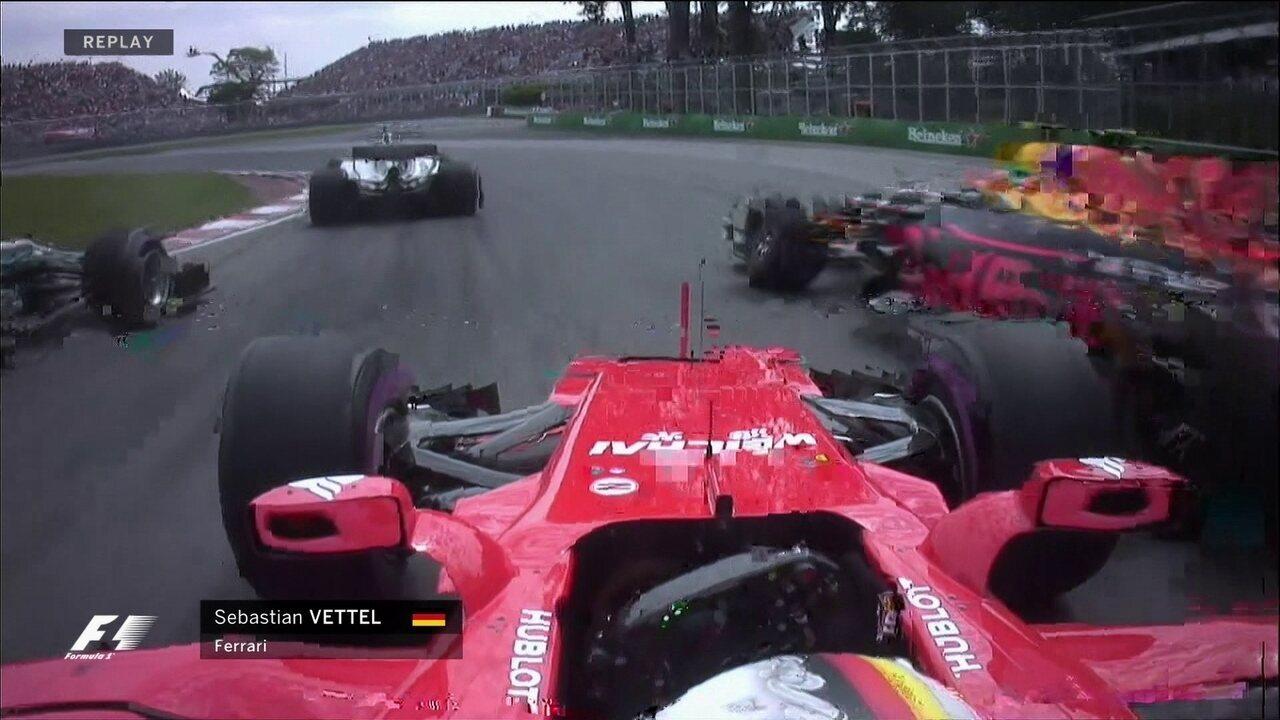 Asa dianteira de Vettel toca no carro de Vestappen na primeira volta