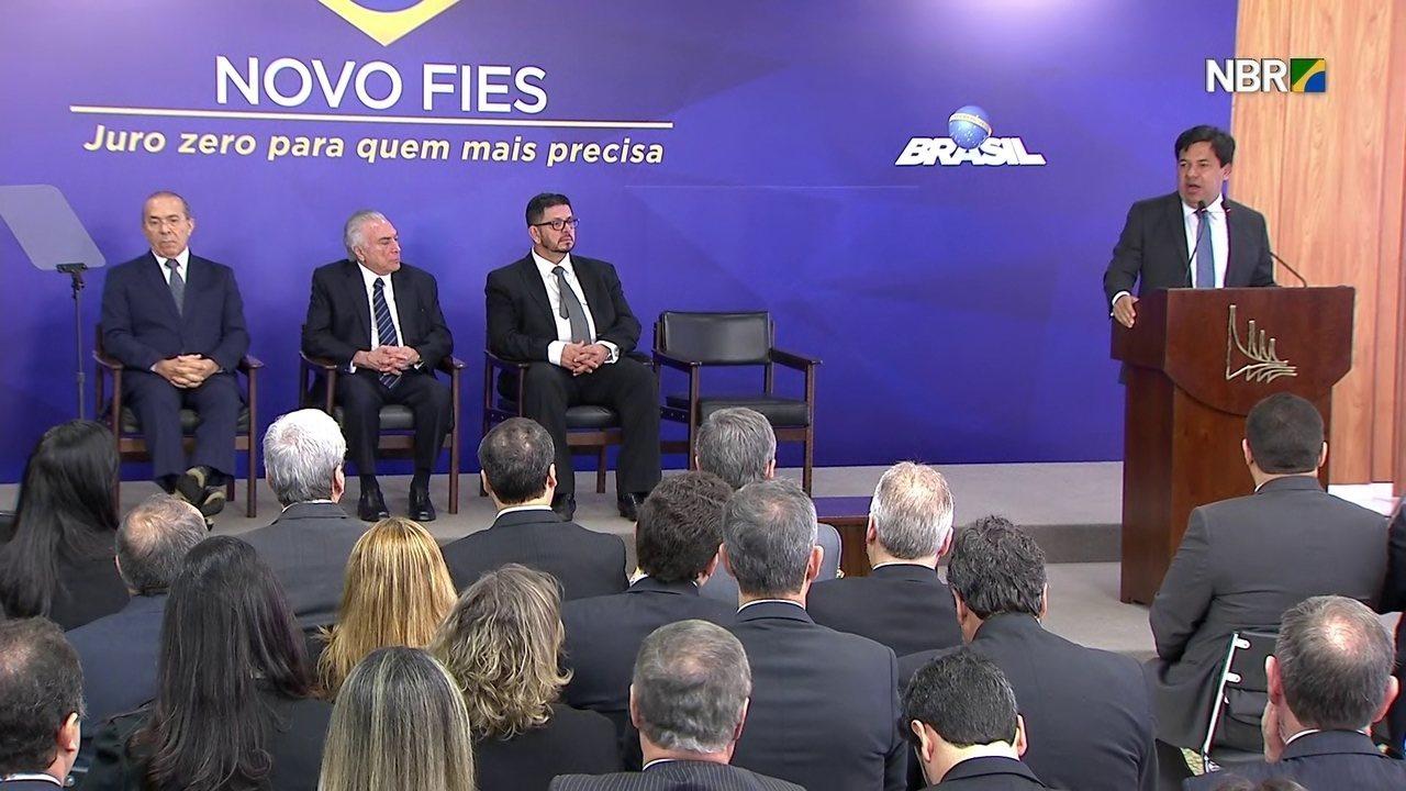 Mendonça Filho diz que novo Fies envolve gestão sustentável e transparente