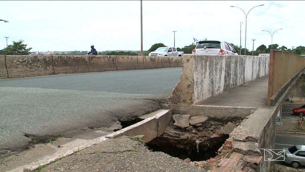 Falta de infraestrutura em viaduto deixa em risco pedestres e motoristas em São Luís
