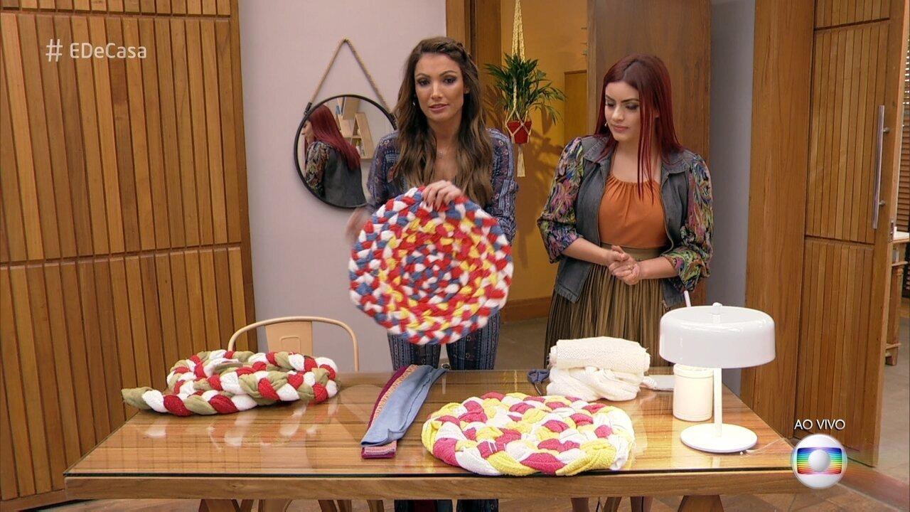 Adesivos De Coração Para Unhas ~ É de Casa Blogueira mostra como reaproveitar toalhas velhas e fazer um lindo tapete Globoplay