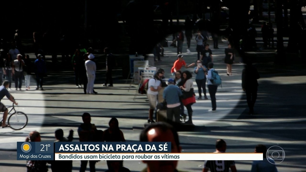 Ladrões usam bicicletas para praticar assaltos na Praça da Sé