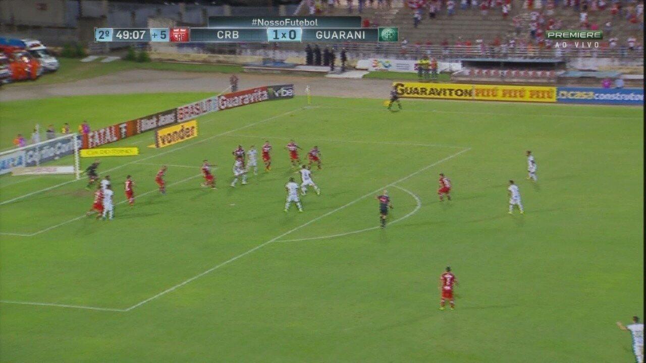 Assista aos gols de CRB 1 x 1 Guarani, em Maceió