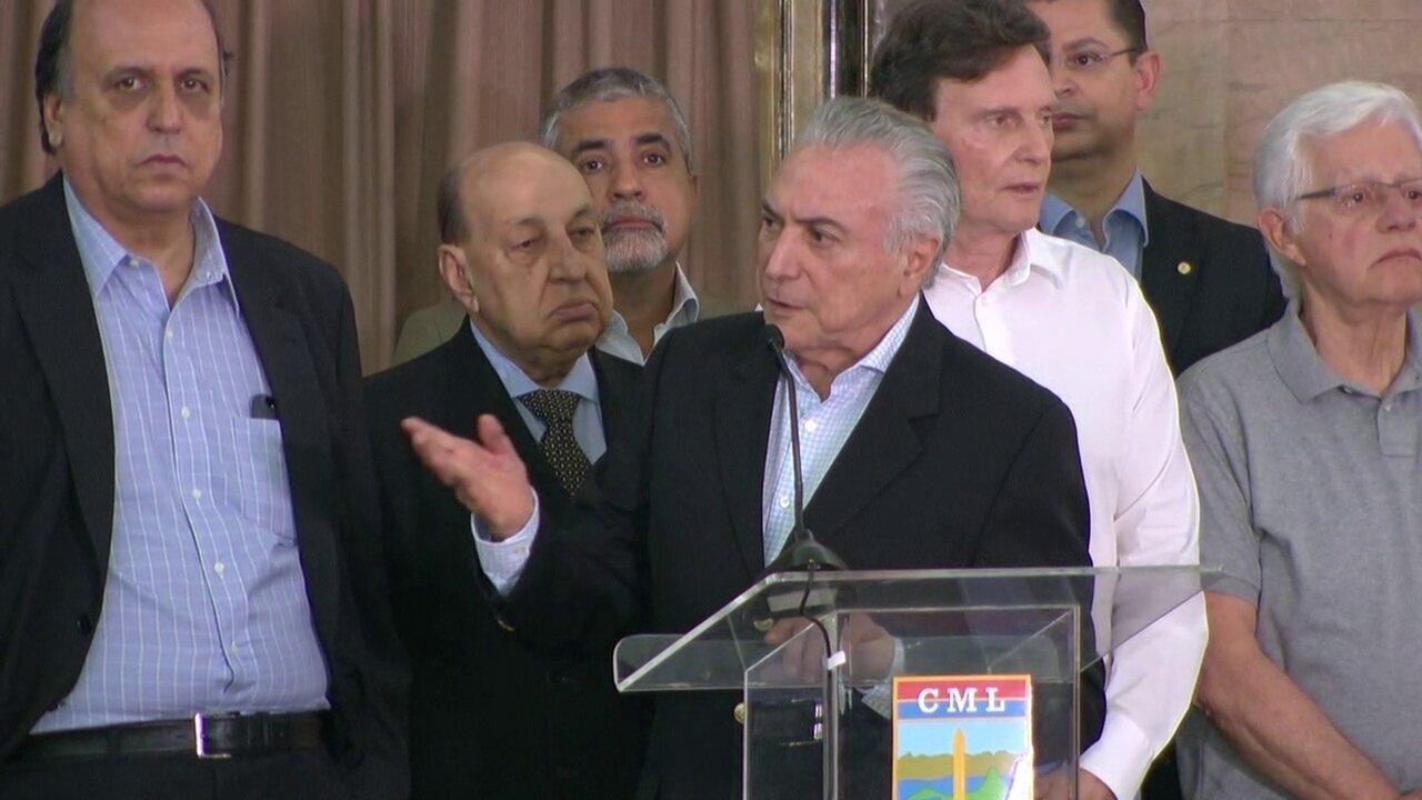 Michel Temer faz pronunciamento sobre ação federal no Rio