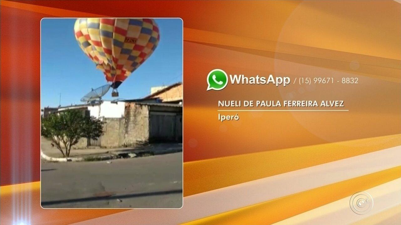 Balão tripulado em chamas faz pouso forçado em casa de Iperó