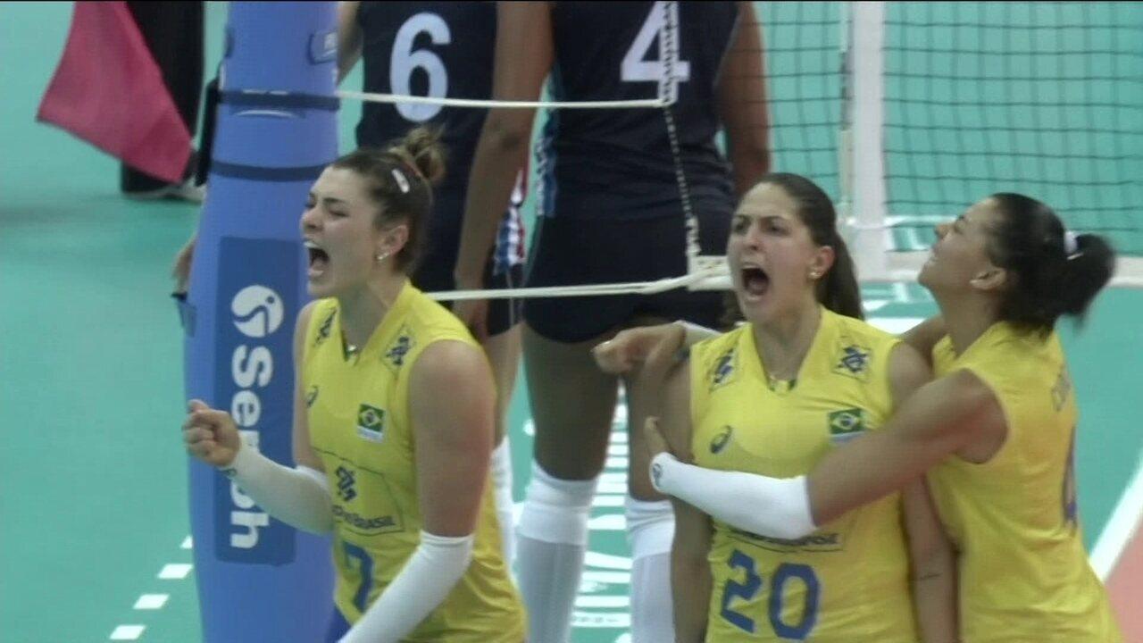 Tie Break - Brasil faz defesa impossível e marca lindo ponto: 7 a 3