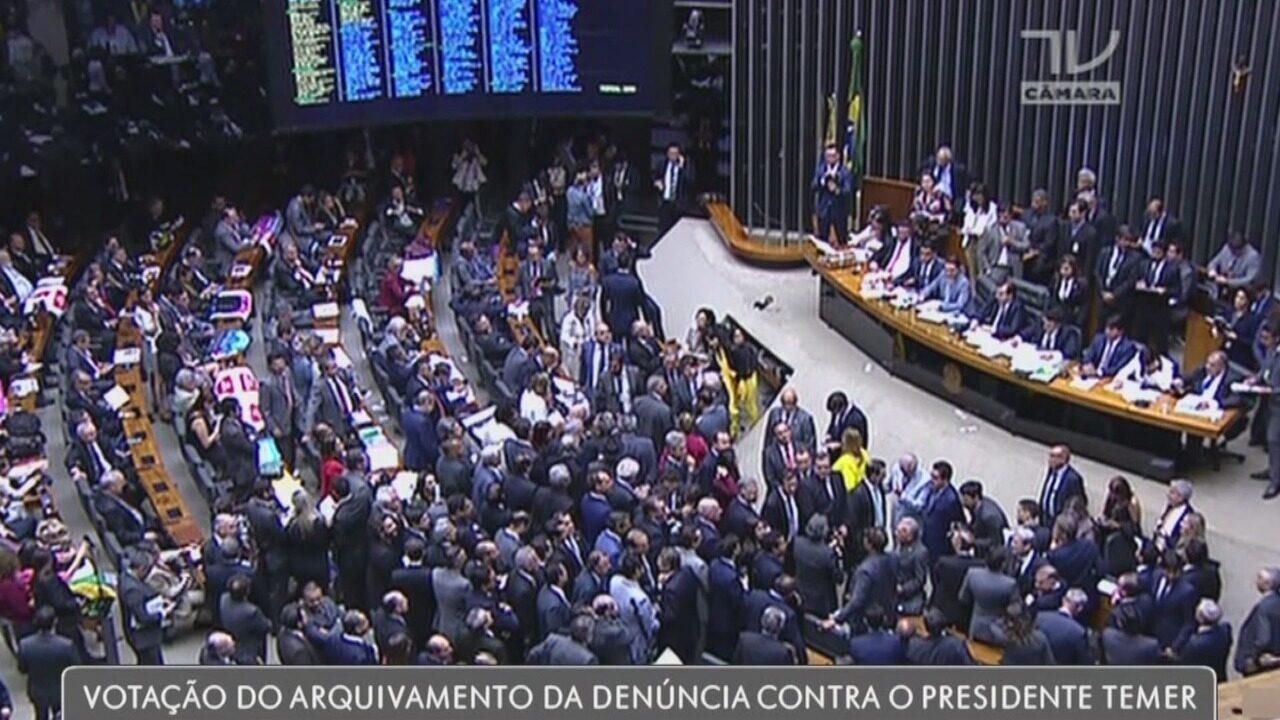 Câmara dos deputados rejeitou denúncia contra o presidente Temer