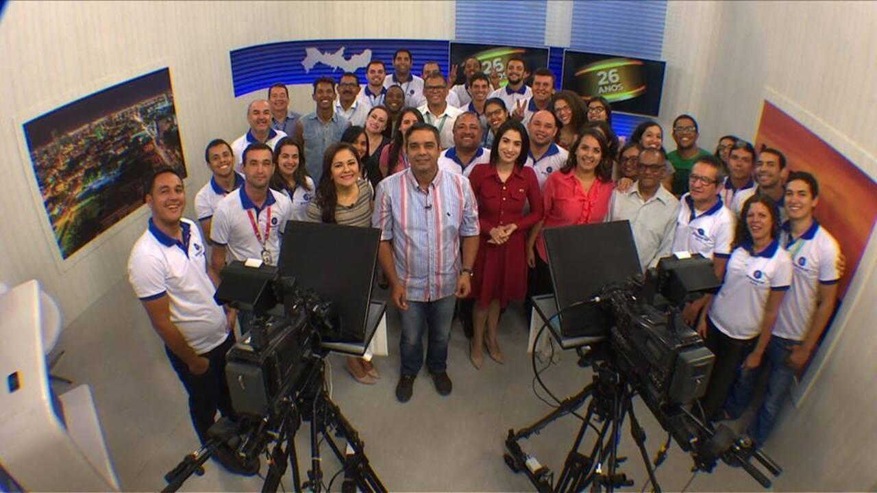 Funcionários gravam homenagem especial pelos 26 anos da TV Grande Rio