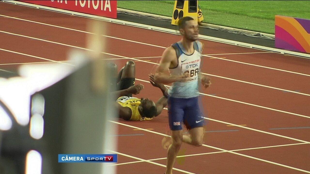 Dramático: Em sua última corrida, Usain Bolt e cai com dores. Veja imagens exclusivas do SporTV