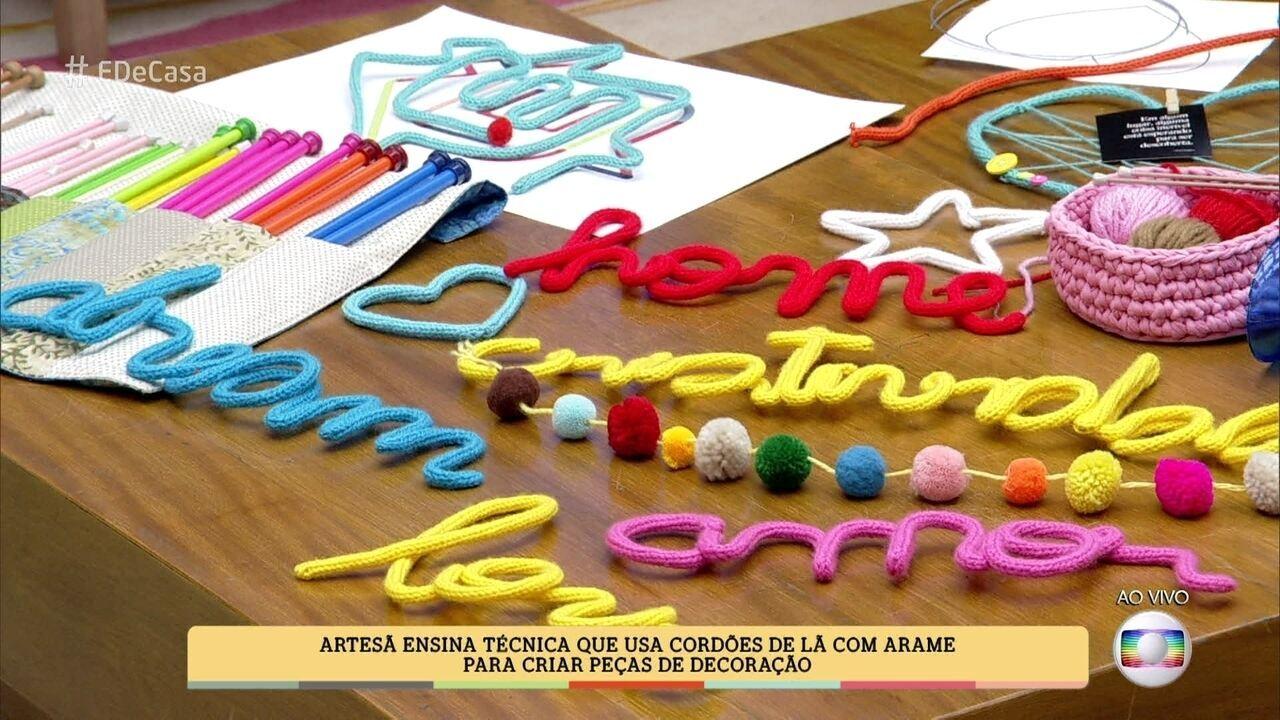 É de Casa Veja como criar peças de decoraç u00e3o com cordões de l u00e3 e arame Globoplay -> Peças Grandes De Xadrez Para Decoração