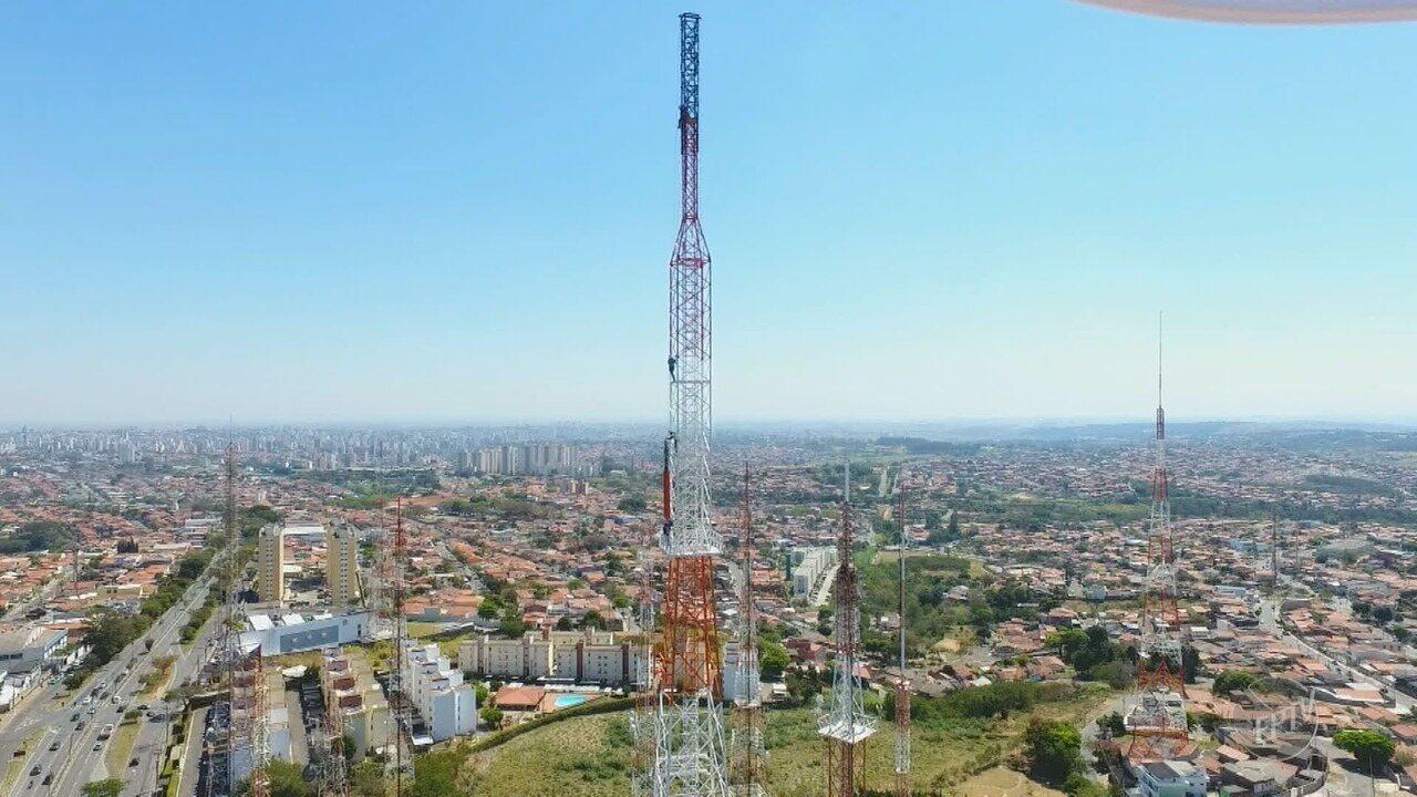 EPTV instala nova antena para a transmissão digital na região de Campinas