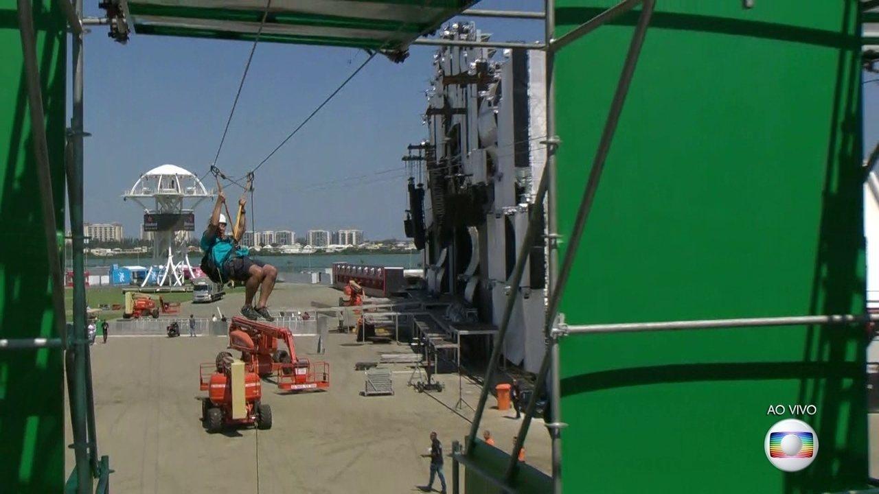 RJ1 é primeira equipe de TV a testar a tirolesa do Rock in Rio