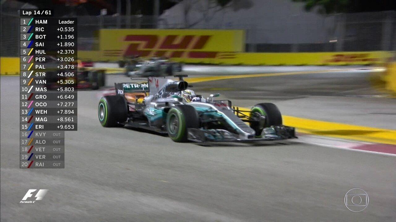 Mais uma relargada em Cingapura com Hamilton ditando o ritmo da corrida