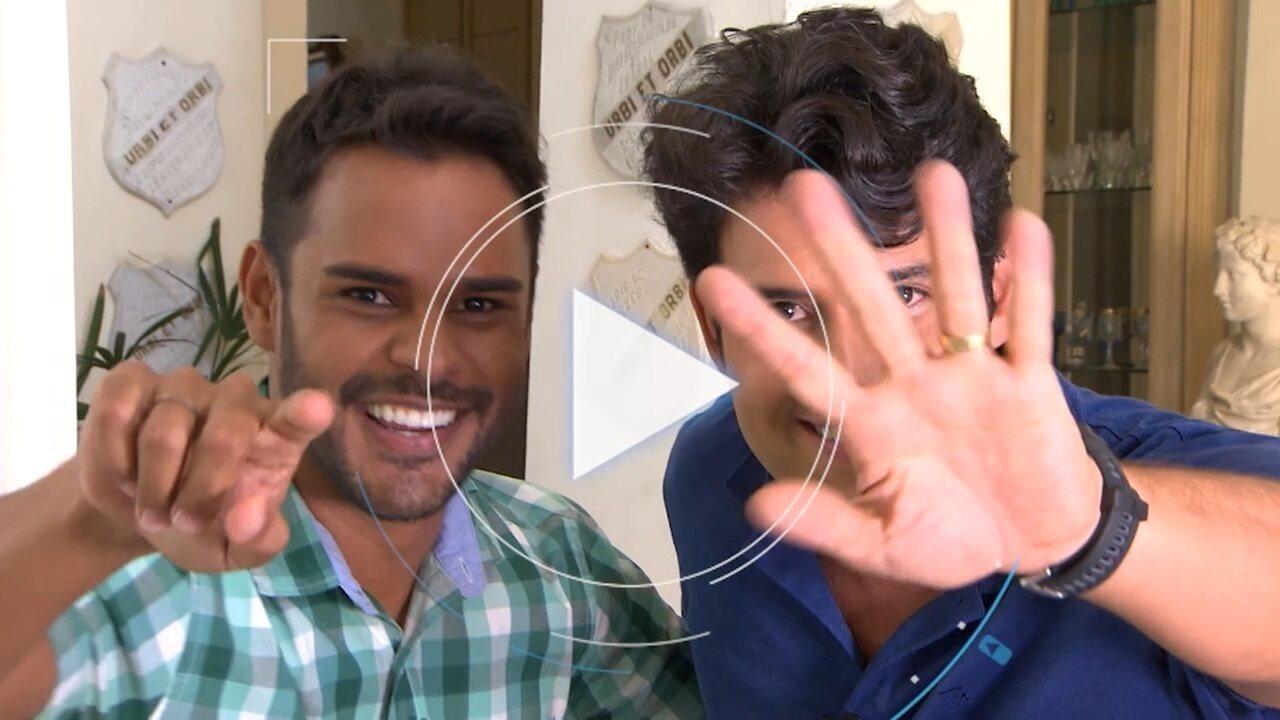 Alessandro Timbó dá as boas-vindas para o repórter Pablo Vasconcelos