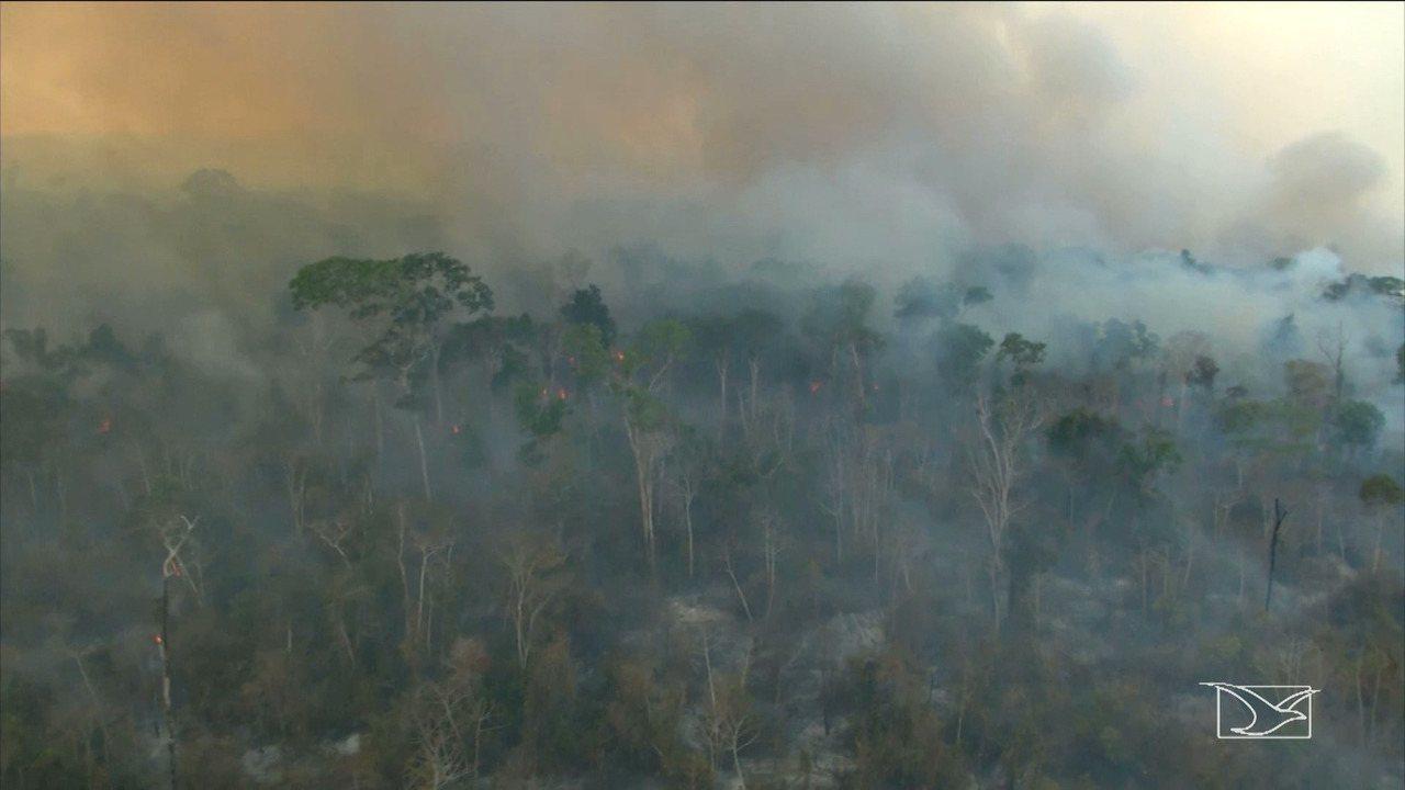 Brigadistas tentam apagar incêndios em terras indígenas no MA
