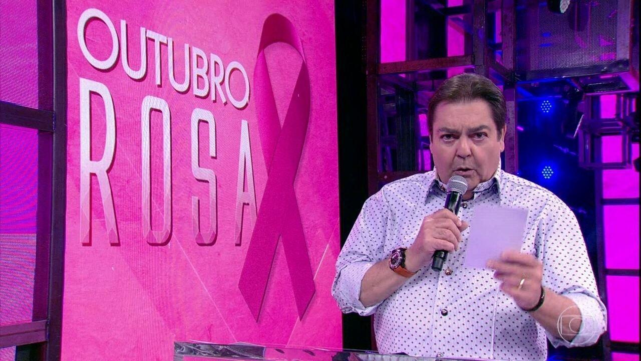 Faustão dá recado sobre o combate ao câncer de mama