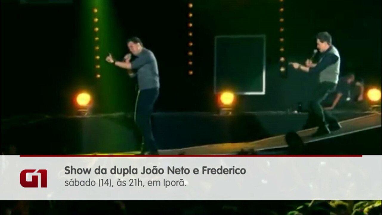 Dupla João Neto e Frederico se apresenta no noroeste, neste sábado (14)