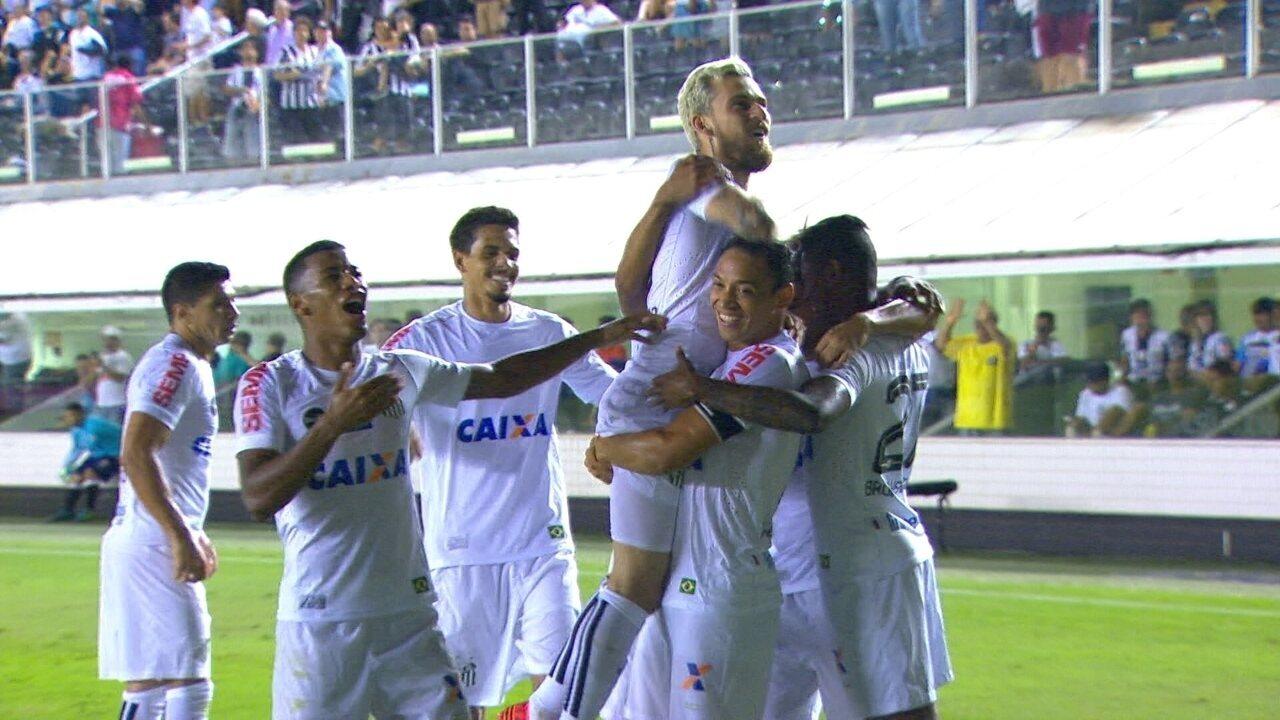 Gol do Santos! Lucas Lima dá lindo passe e Ricardo Oliveira marca aos 19 do 2º tempo