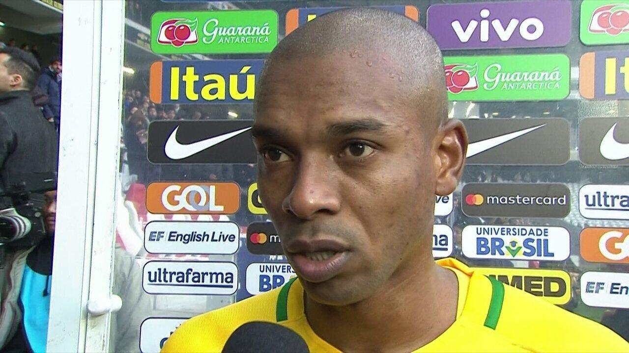 Fernandinho comemora boa atuação da Seleção Brasileira e avisa: