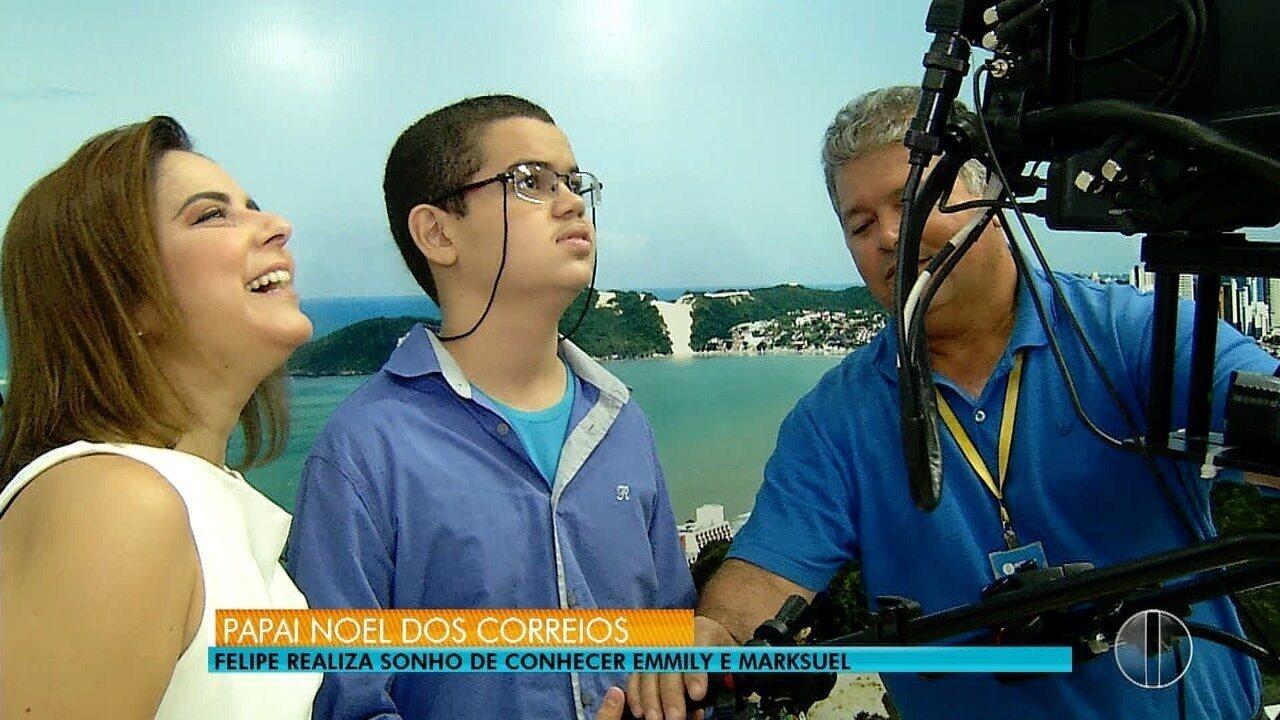 Após mandar carta para Papai Noel, Felipe realiza sonho de conhecer a Inter TV Cabugi