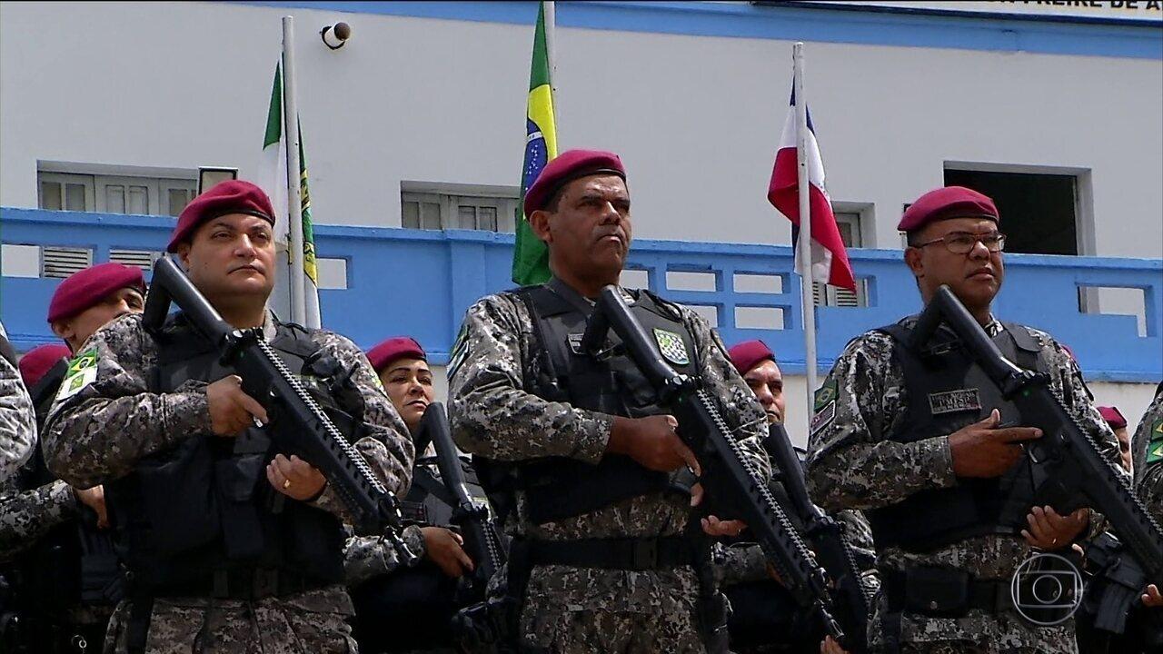 Soldados da Força Nacional de Segurança reforçam o policiamento em Natal