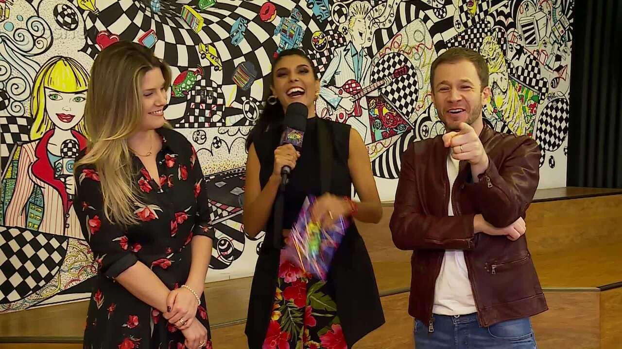 Tiago Leifert e Daiana Garbin participam de quiz sobre games e alimentação saudável