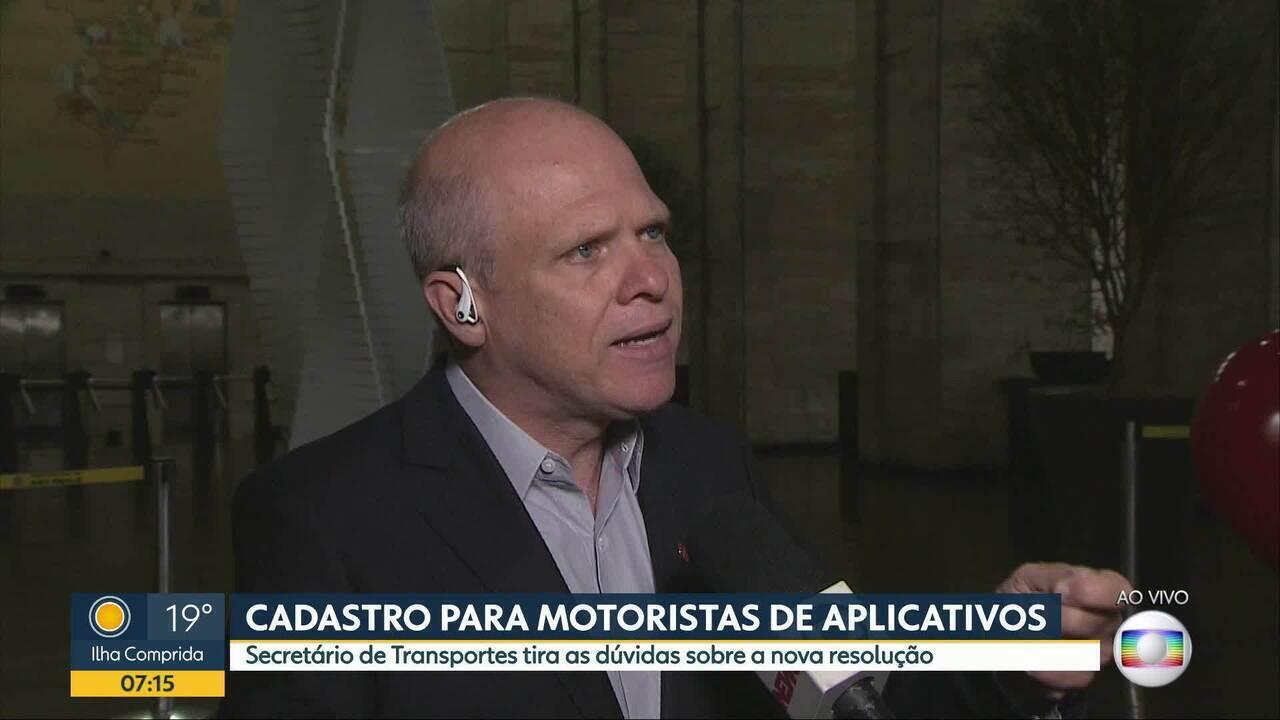 Secretário de Transportes fala sobre regulamentação dos aplicativos em SP