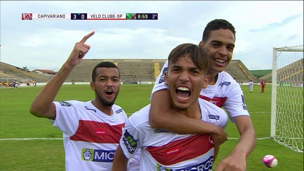 Os gols de Capivariano 5 x 0 Velo Clube-SP pela Copa SP de Futebol Júnior