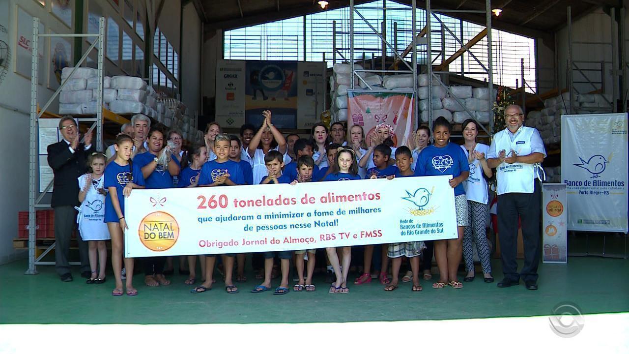 260 toneladas de alimentos são arrecadados pela campanha Natal do Bem da RBS TV