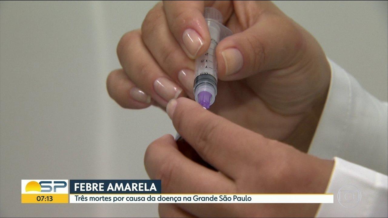 Sobe para 3 o número de mortes por febre amarela na Grande SP