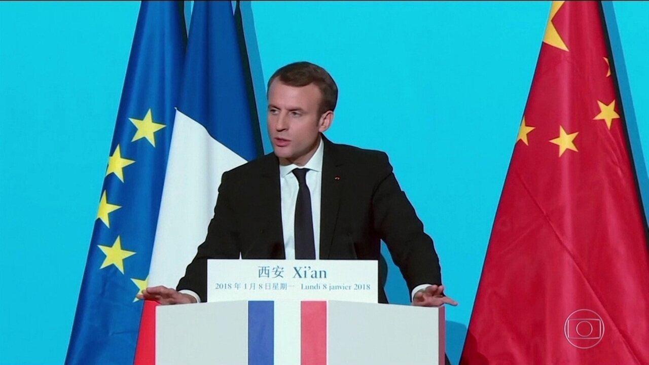 Emmanuel Macron quer aliança entre França e China contra alterações climáticas
