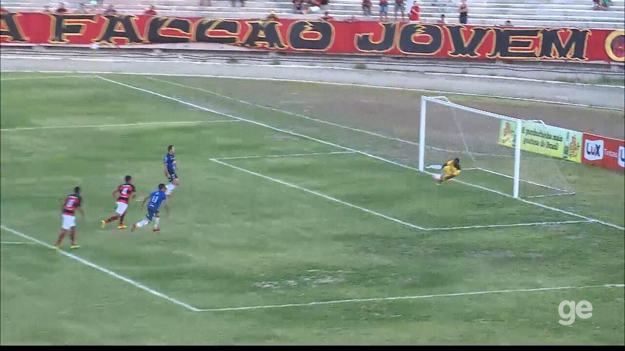 Jeferson defende o pênalti cobrado por Jorge Mauá, mas toma o gol na sequência do lance