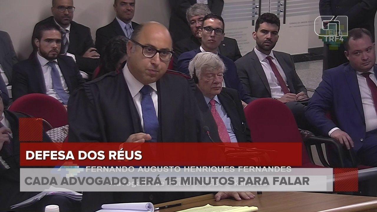 Advogado de defesa de Paulo Okamotto discursa no julgamento de Lula