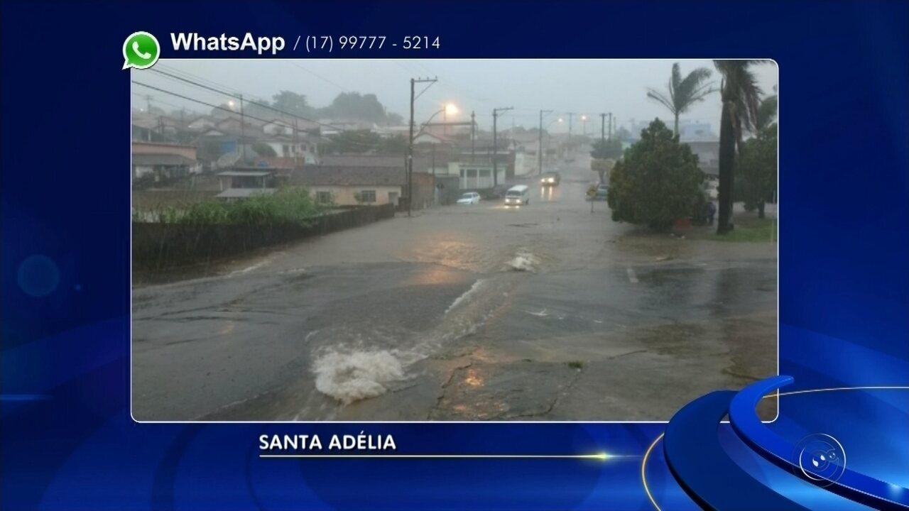Enxurrada durante temporal provoca estragos em casas de Santa Adélia
