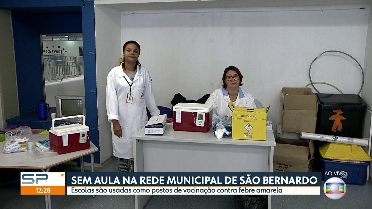 Começa a vacinação contra febre amarela em escolas municipais de São Bernardo