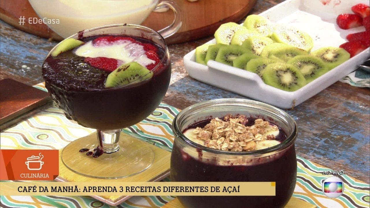 Café da manhã - Aprenda 3 receitas diferentes de Açaí