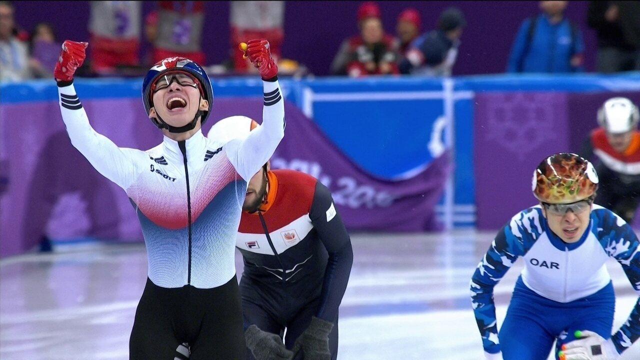 Hyojun Lim, Coreia do Sul, é ouro nos 1500m da patinação de velocidade em pista curta