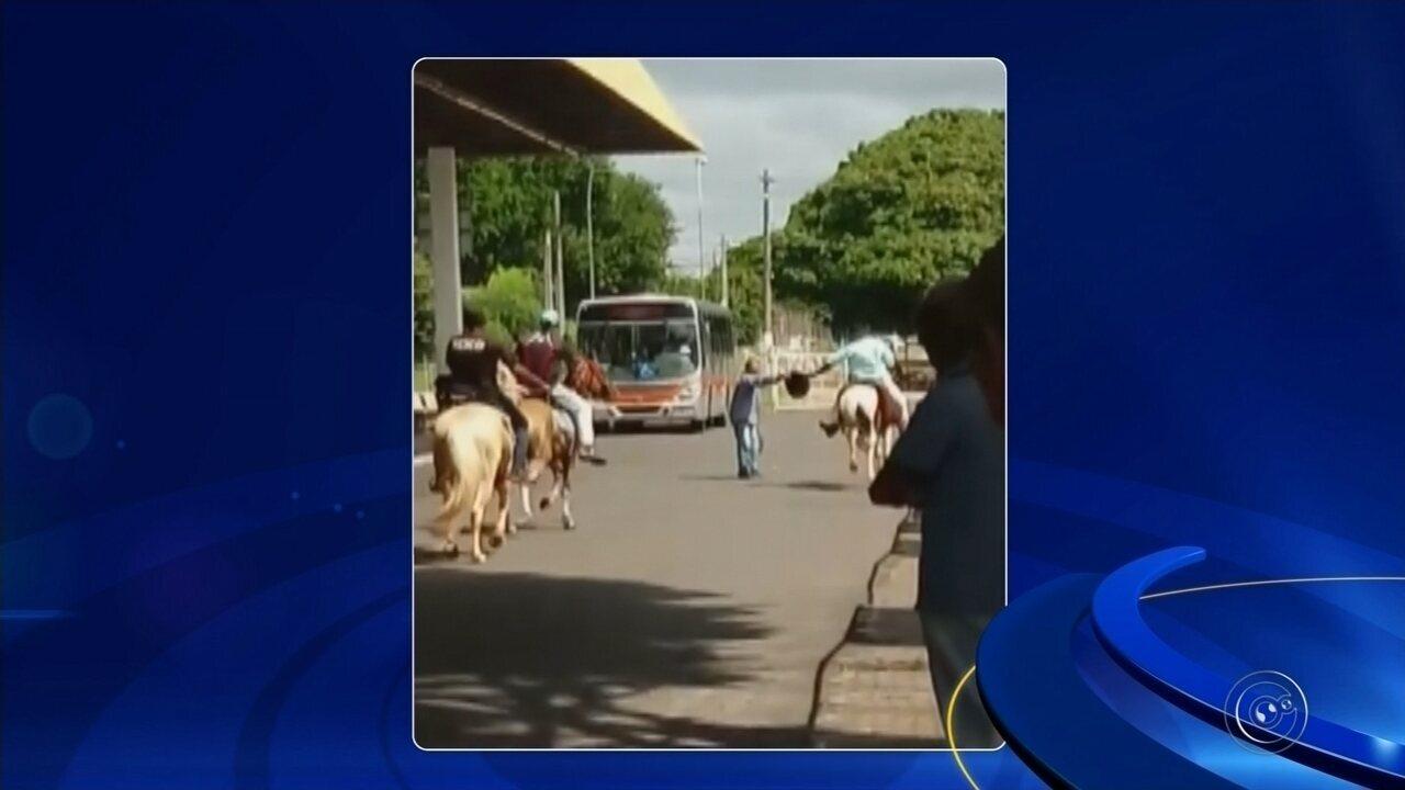 Vídeo mostra homens montados em cavalos no terminal rodoviário de Marília