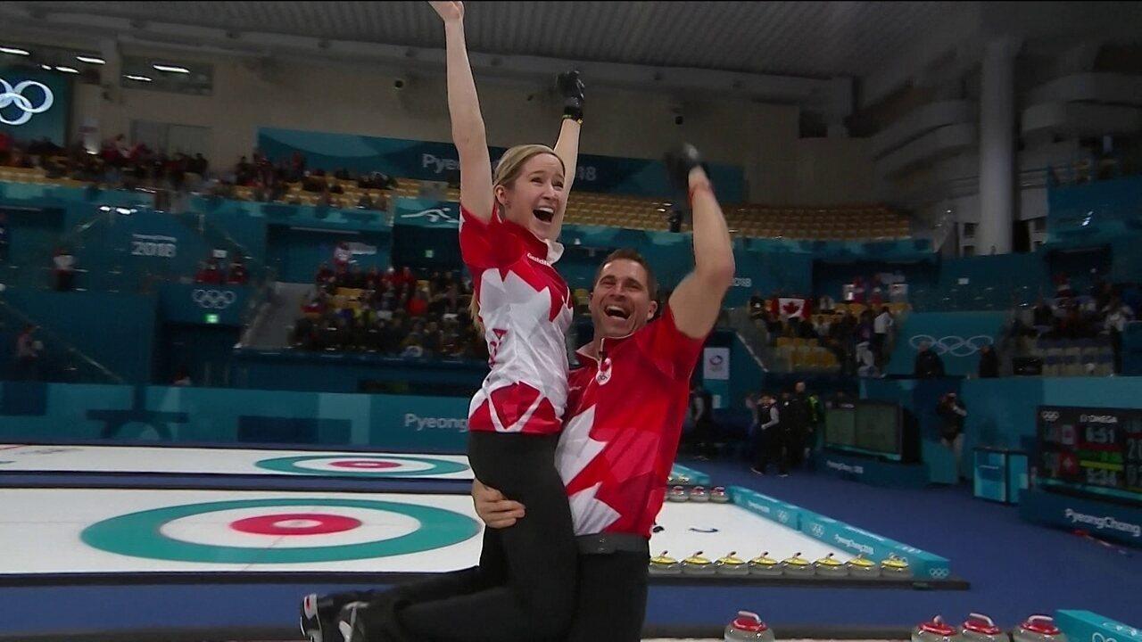 Melhores momentos: Canadá 10 x 3 Suíça pela final do curling de duplas mistas