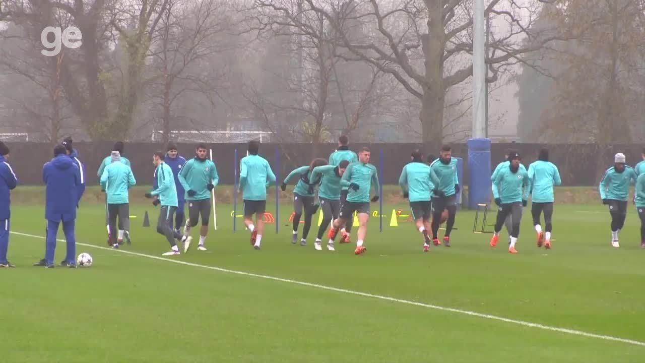 Chelsea treina antes de duelo contra o Barcelona pela Liga dos Campeões da Uefa