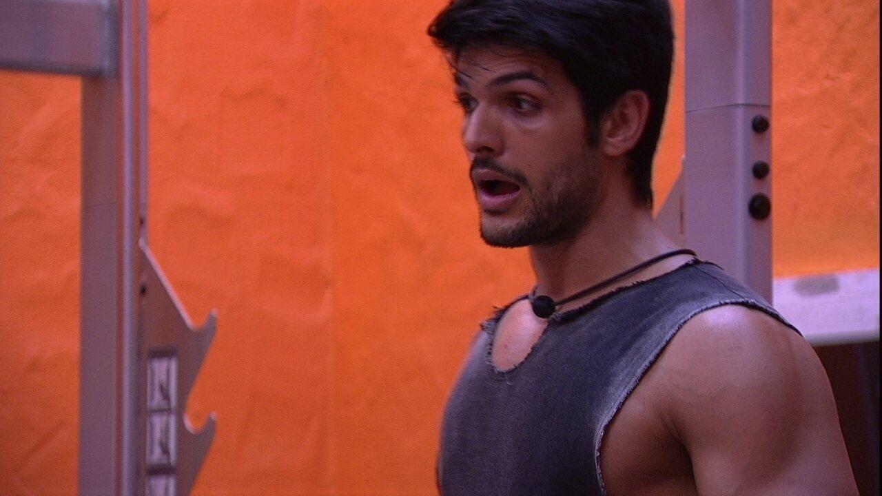 Lucas chuta sobre Paredão: 'Eu, Caruso e Diego'