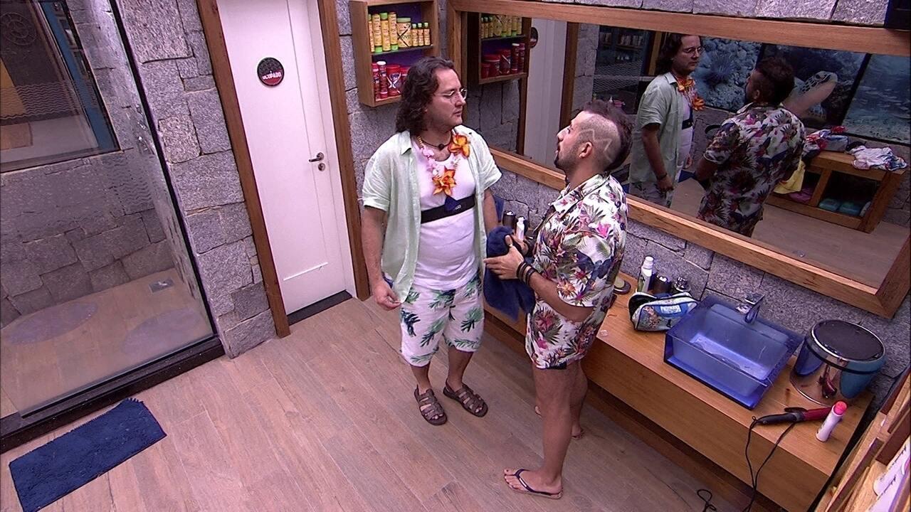 Kaysar relata a Diego o que ouviu de Patrícia: 'Me senti mal'