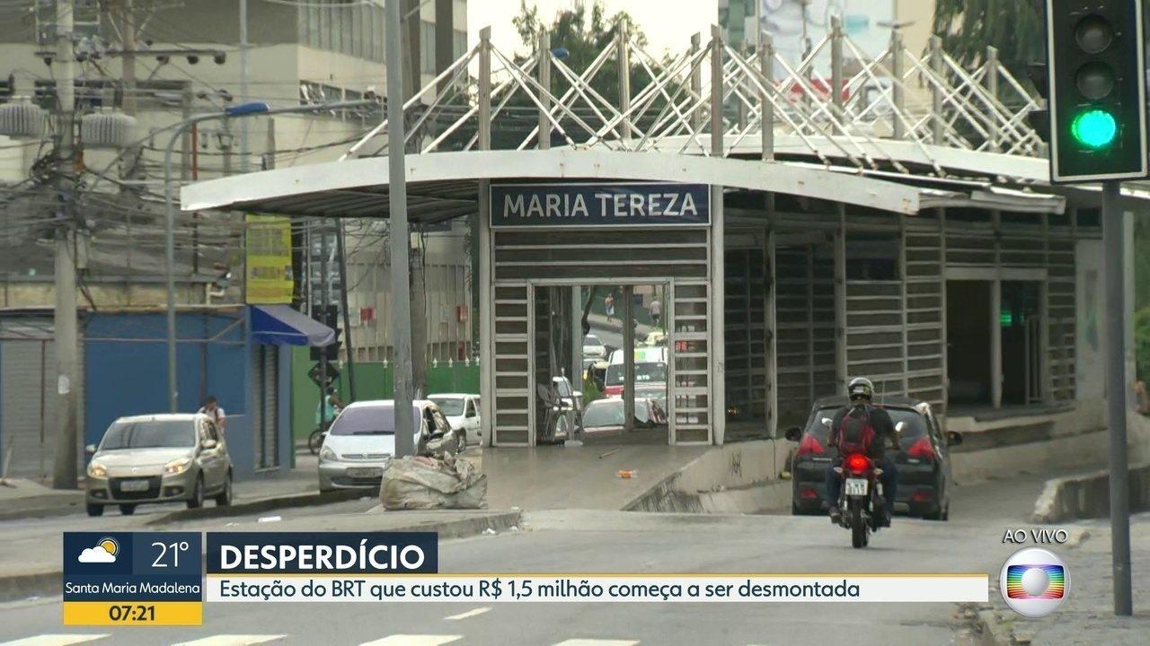 Estação do BRT que custou R$ 1,5 milhão começa a ser desativada