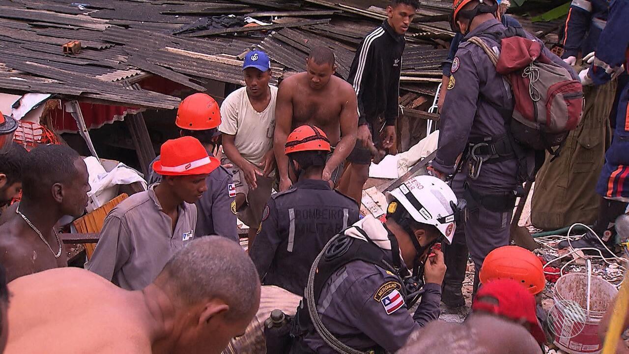 Tragédia: quatro pessoas morrem e três ficam feridas em desabamento de prédio em Pituaçu