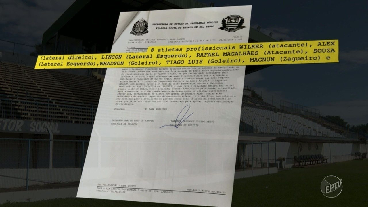 Técnicos e 8 jogadores do União Barbarense são suspeitos de fraudes nos jogos da Série A3