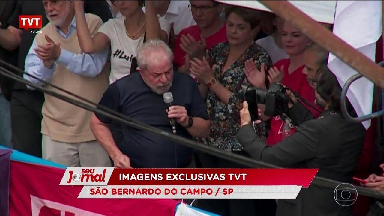 Em discurso, Lula saúda políticos, lembra trajetória, critica imprensa e Justiça
