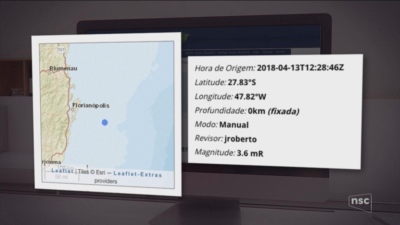 Litoral de Florianópolis registra tremor de 3,6 pontos na escala Richter