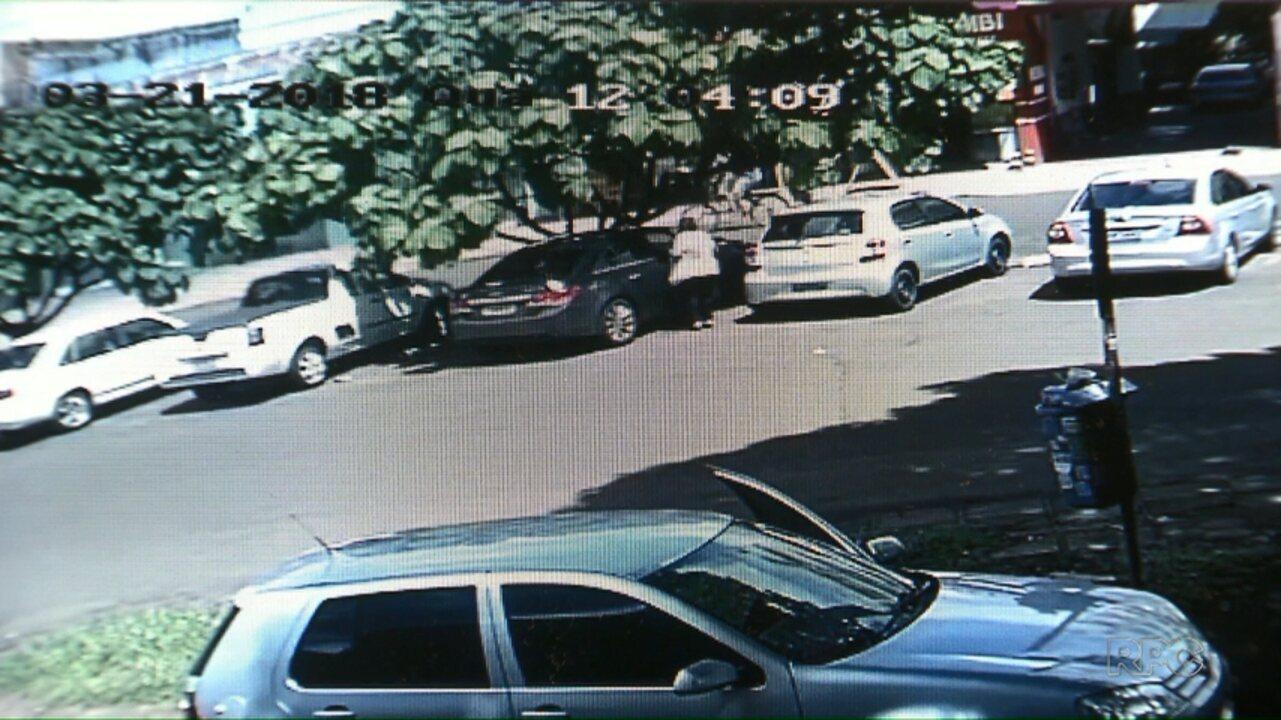 Câmera mostra a ação de golpista em Foz