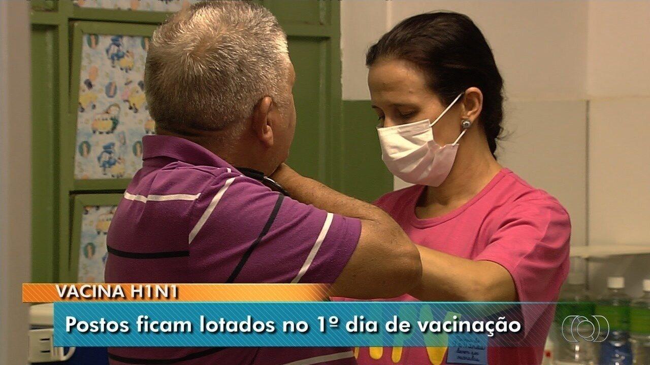 Espera no 1º dia de vacinação contra H1N1 em centro de saúde de Goiânia chega a duas horas