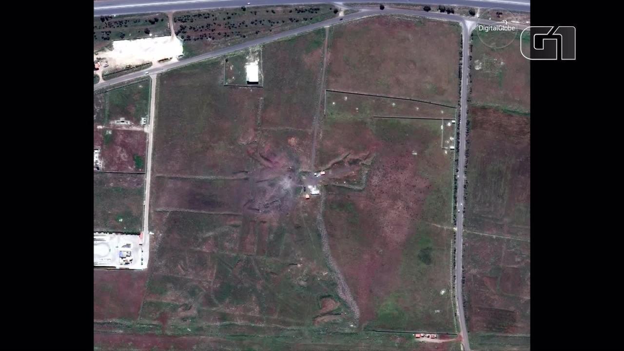 Imagens de satélite mostram alvos sírios antes e depois de ataque dos EUA